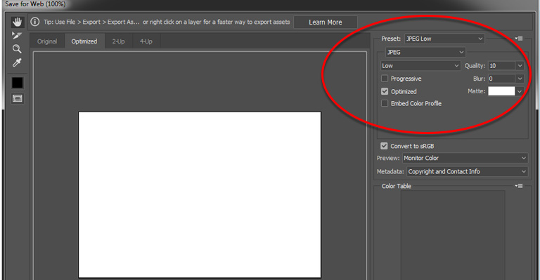 أداة ضغط و تقليص حجم الصور في فوتوشوب CC